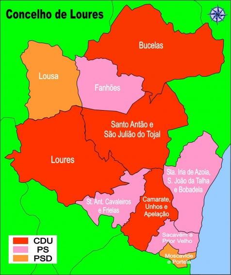 mapa de loures Nota sobre os resultados eleitorais em Loures | Bloco Loures mapa de loures